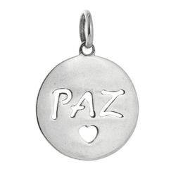 Pingente Escrito Paz em Prata 925