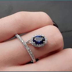 Anel Pendurado com Zircônia Azul - 003388ANZC - MAGNIFIQUE