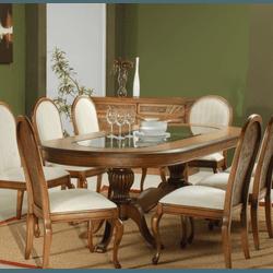 Sala de Jantar Com Mesa (2,50m) + 8 Cadeiras - Lin... - MOVEIS ANTIGUS
