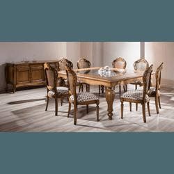 Sala De Jantar Em Madeira - Linha Luxo Com Mesa Qu... - MOVEIS ANTIGUS