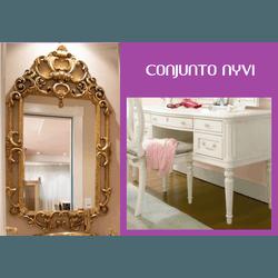 Bancada Provençal com Tampo de Vidro + Espelho Ver... - MOVEIS ANTIGUS