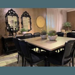 Conjunto Mesa de Jantar Altesse com 8 Cadeiras Lou... - MOVEIS ANTIGUS