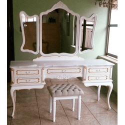 Penteadeira Provençal Madeira Maciça 3 Espelhos Co... - MOVEIS ANTIGUS