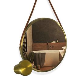 Espelho ADNET 60cm Dourado com Alça Caramelo Redun... - Nicolucci
