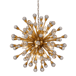 Pendente Núcleo Metal Dorado Cristal Transparente ... - Nicolucci