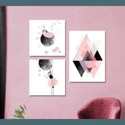 Kit 3 Placas Decorativas Meninas - Q! Bacana