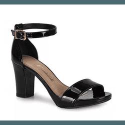 Sandália Salto Bloco Verniz Preto Via Marte - Rilu Fashion