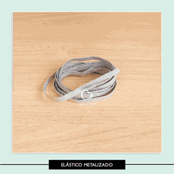 Elástico Chato Metalizado - 7 mm - ELMETAL - Studio Office K