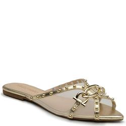 Sapato Mule Em Couro Cristal Ouro Light - Mezzo Punto