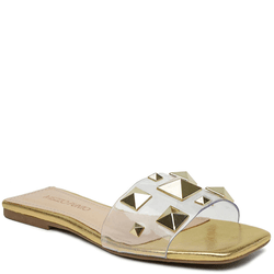 SandÁlia Flat Em Cristal Ouro Light Com PirÂmides - Mezzo Punto