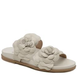 Sandália Papete em couro Off White floral - Mezzo Punto