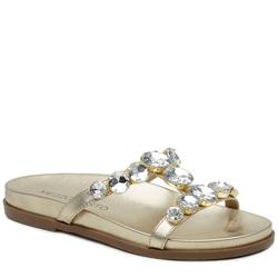 Sandália Papete em couro Cristal ouro light com pe... - Mezzo Punto