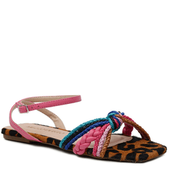 SandÁlia Flat Em PÊLO e cordões coloridos - Mezzo Punto