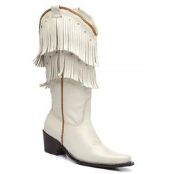 Bota Country Texana Feminina Com Franjas Couro Flo... - Top Franca Shoes   Calçados confortáveis em Couro