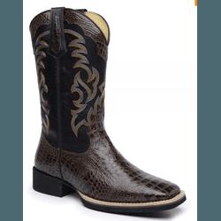 Bota Country Texana Masculina Bico Quadrado Couro ... - Top Franca Shoes | Calçados confortáveis em Couro