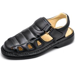 Sandália Masculina Ortopédica Anatomica de Couro P... - Top Franca Shoes | Calçados confortáveis em Couro