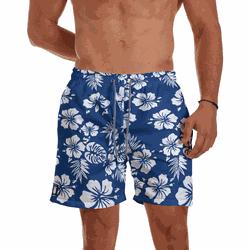 Short Praia Masculino Floral Azul e Branco Use Thu... - Use Thuco