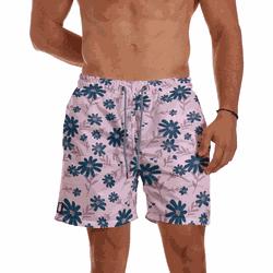 Short Praia Masculino Rosa Bebê Floral Use Thuco -... - Use Thuco