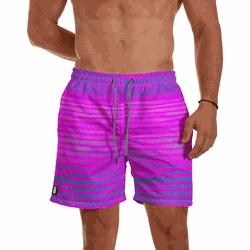 Short Praia Masculino Rosa Neon com Listras Use Th... - Use Thuco