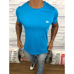 ac69c157327 Camiseta Lacoste Lisa -Azul Claro Logo Branco