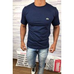 34b68e7882b Camiseta Lacoste Lisa - Azul Marinho com logo verd