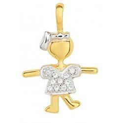 Pingente de Ouro 18K Menina com zircônias e ródio ...
