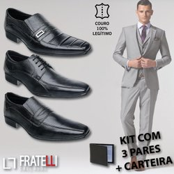 f01910309 Kit Sapato Social em Couro Bovino bico fino+ carte.