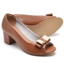 28ec30ce0 Sapato Social Feminino Peep Toe Work Couro Caramel