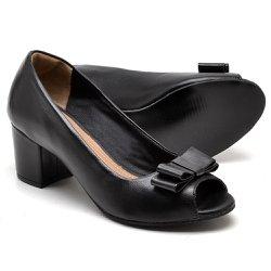 e15c9237d Sapato Social Feminino Peep Toe Work Couro Preto
