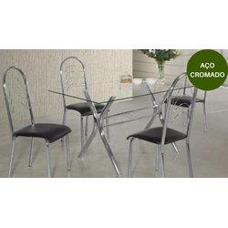 Mesa Aço Nobre Linea Londres com 4 Cadeiras Pérola Korino Preto
