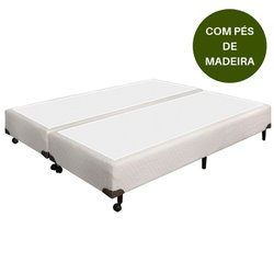 Base Box de Casal 158x198x28 Branco com Pés de Madeira