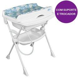Banheira Burigotto Splash! Com Suporte, Trocador e Assento Redutor - Peixe Azul