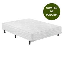 Base Box de Casal 138x188x30 Branco CASAL com Pés de Madeira