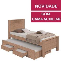 Cama Lopas Bibox de Solteiro Athenas 2 Gavetas Carvalho Naturale