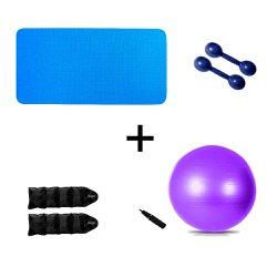 Kit Colchonete Azul + Par Halter 1kg + Par Caneleira 1kg + Bola Suíça Pilates 55cm