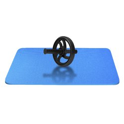 Kit Roda Para Abdominal + Colchonete Academia 10mm Azul