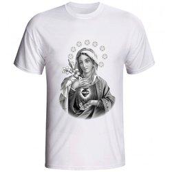 Camiseta Sagrado Coração de Maria Preto e Branco -...