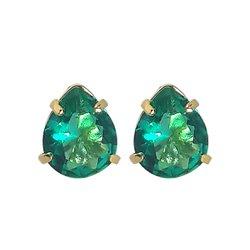 Brinco Gota Banho de Ouro 18k Cristal Verde Esmeralda