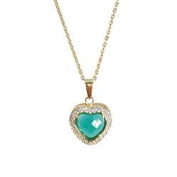 Pingente Coração Banho de Ouro 18k Cristal Verde Facetado e Zircônias com corrente Cartier