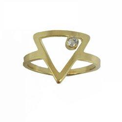 Anel Triângulo Ponto de Luz Semijoia Banho de Ouro 18K Cravação de Zircônia