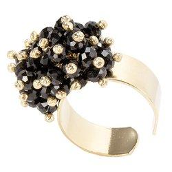 Anel Microesferas Móveis Semijoia Banho de Ouro 18k Pedra Natural Quartzo Negro