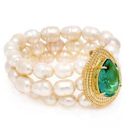 Pulseira Semijoia Banho de Ouro 18K Composta por Pérolas Cristal Verde Esmeralda