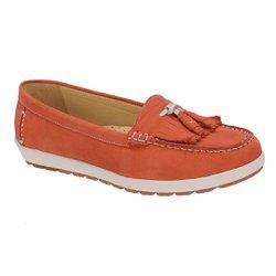 Mocassim Feminino em Couro - Suede Salmão - SE4001SS - Pé Relax Sapatos Confortáveis