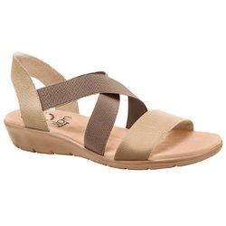 Sandália Confort Feminina - Bege Light Tan - MA10062B - Pé Relax Sapatos Confortáveis