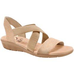 Sandália Confort Feminina - Croco Bege - MA10062MR - Pé Relax Sapatos Confortáveis