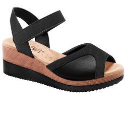 Sandália Anabela para Joanete - Preta - MA581025P - Pé Relax Sapatos Confortáveis