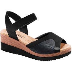 Sandália Anabela para Joanete - Verniz Preta - MA581025VPT - Pé Relax Sapatos Confortáveis