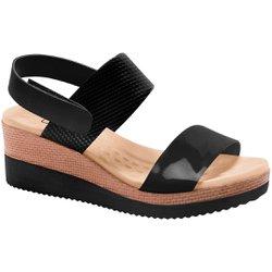 Sandália Anabela Salto Baixo - Preta - MA581017P - Pé Relax Sapatos Confortáveis