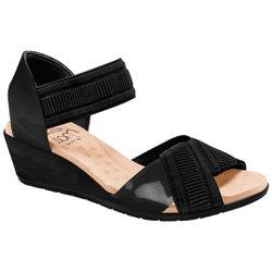 Sandália Anabela Comfort - Preta - MA206045P - Pé Relax Sapatos Confortáveis