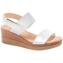 Sandália Anabela Salto Baixo - Branca - MA581017BA - Pé Relax Sapatos Confortáveis